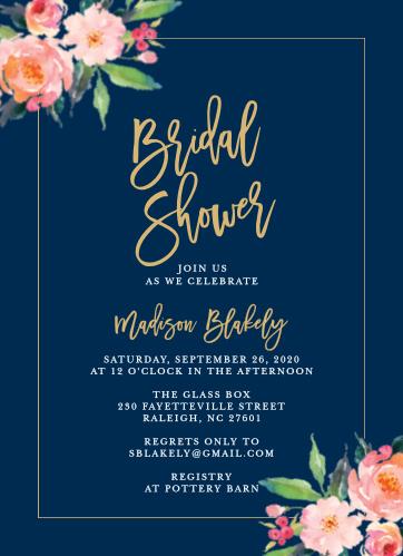 standing ovation foil bridal shower invitations