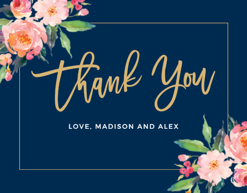 bridal shower thank you cards match your color style free