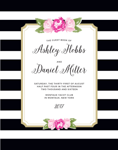Floral Stripe Guest Book