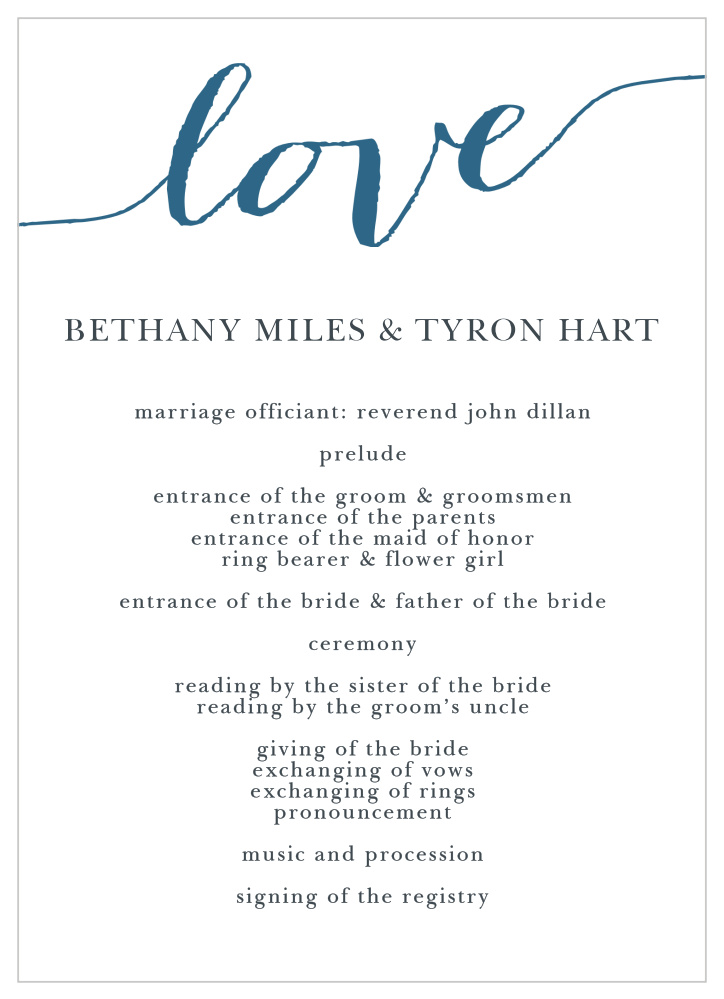 Love Script Wedding Programs