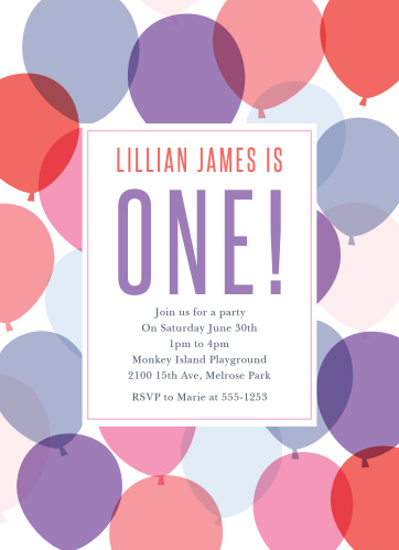 Buoyant Balloons Girl First Birthday Invitations