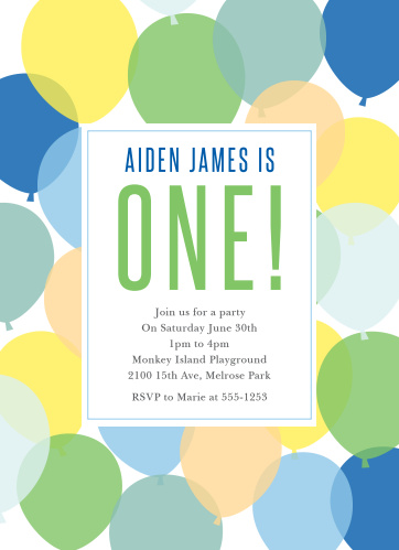 Buoyant Balloons Boy First Birthday Invitations