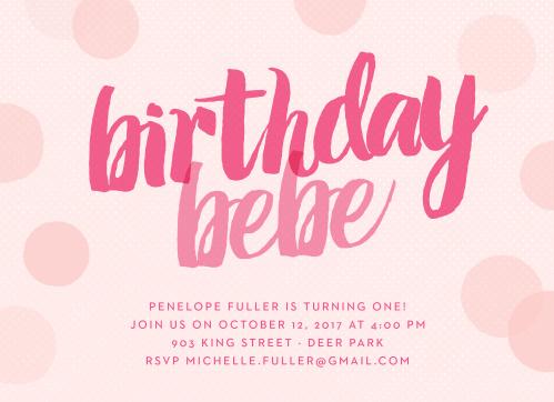 Big Script Girl First Birthday Invitations