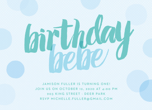 Big Script Boy First Birthday Invitations