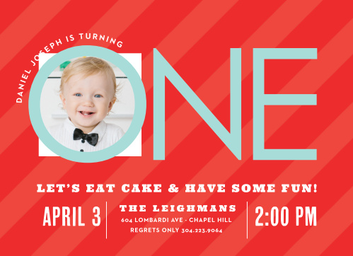 Candy Stripe Boy First Birthday Invitations