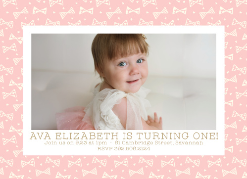 Busy Bows Girl First Birthday Invitations