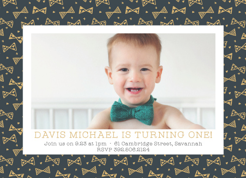 Busy Bows Foil First Birthday Invitations