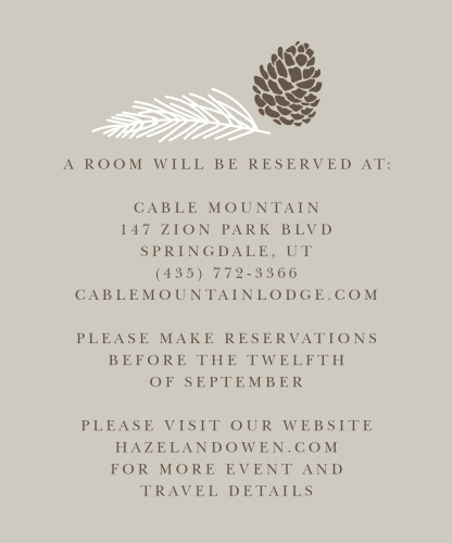Pretty Pinecones Accommodation Cards