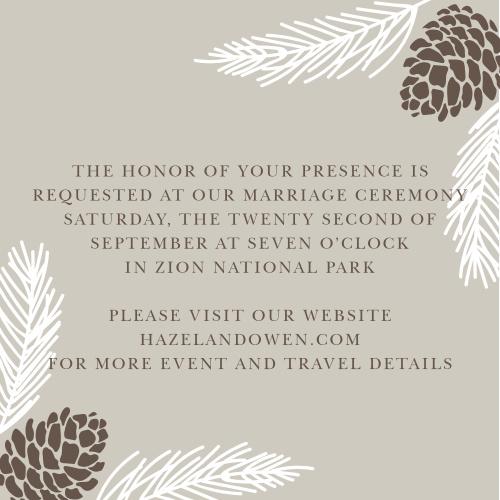 Pretty Pinecones Ceremony Cards