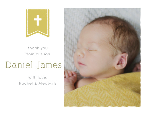 Banner and Cross Boy Thank You Cards