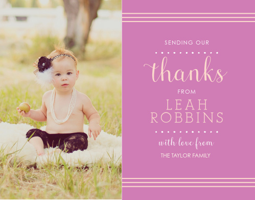 Polka Dot Border Girl Thank You Cards