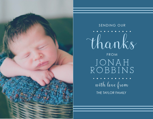 Polka Dot Border Boy Thank You Cards