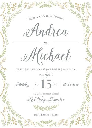 Romantic Evergreen Wedding Invitations
