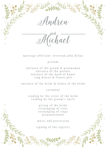 Romantic Evergreen Wedding Programs