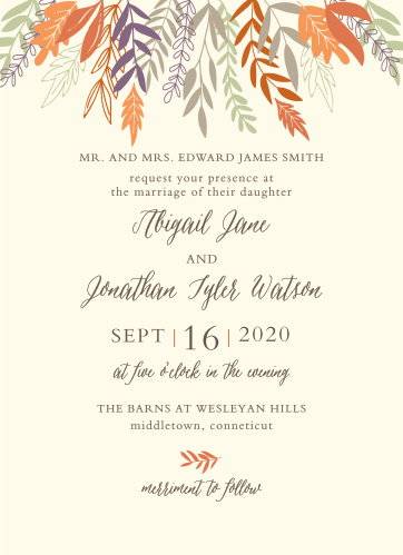 Po Wedding Invitations | Fall Wedding Invitations Match Your Color Style Free
