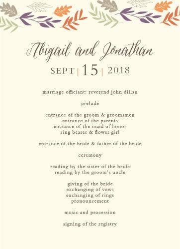 Fall Harvest Wedding Programs