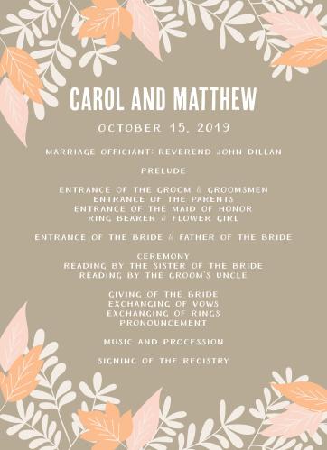 Autumn Foliage Wedding Programs