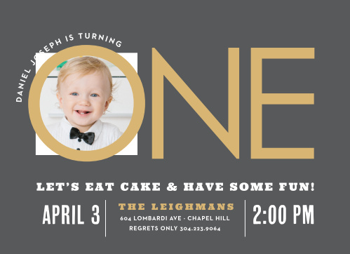 Candy Stripe Foil First Birthday Invitations
