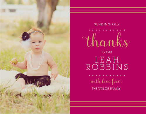 Polka Dot Border Girl Foil Thank You Cards