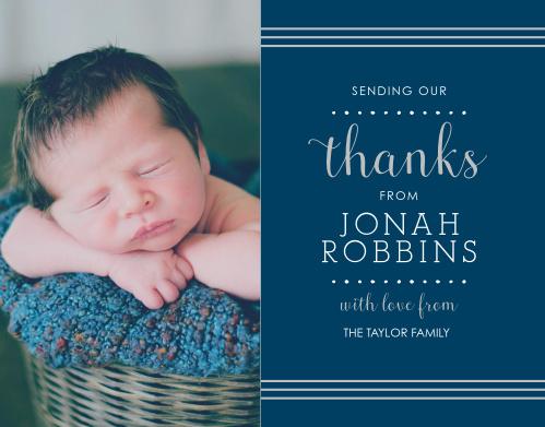 Polka Dot Border Boy Foil Thank You Cards