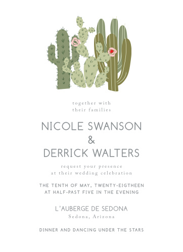 cactus wedding invitations match your color style free