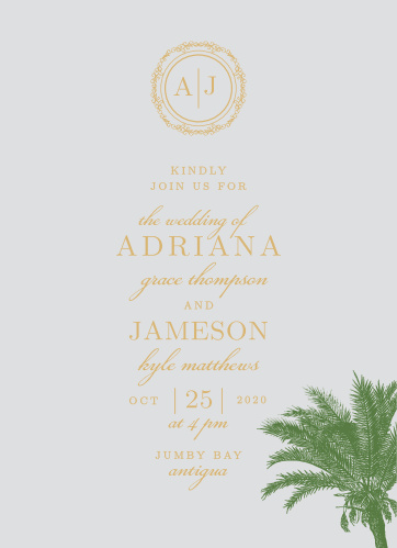 Palm Tree Wedding Invitations Match Your Color Style Free