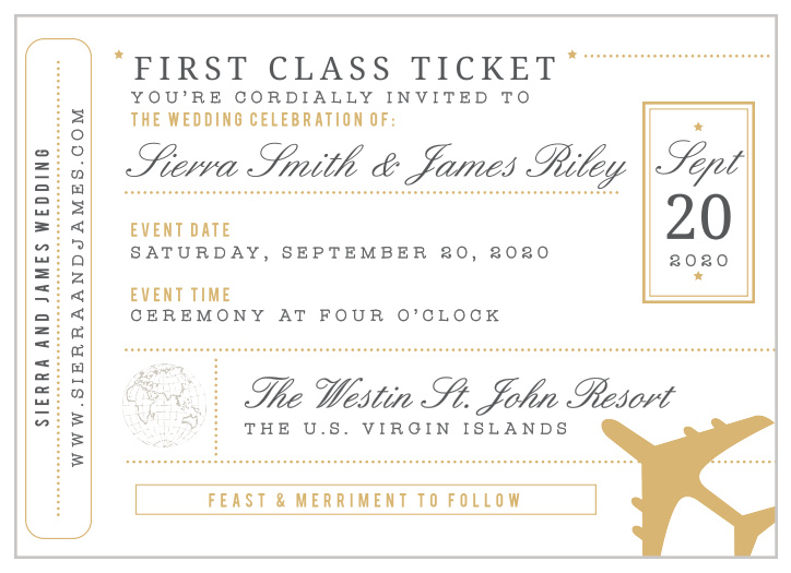 Boarding Pass Wedding Invitations Match Your Color Style