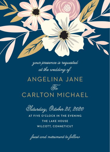 Rustic Blooms Foil Wedding Invitations