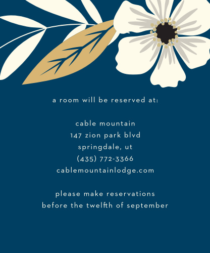 Rustic Blooms Foil Accommodation Cards