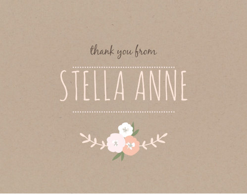 Floral Kraft Thank You Cards