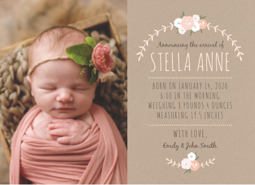 3a8f981dd93b5 Baby Girl Birth Announcements | Photo and No Photo Announcements