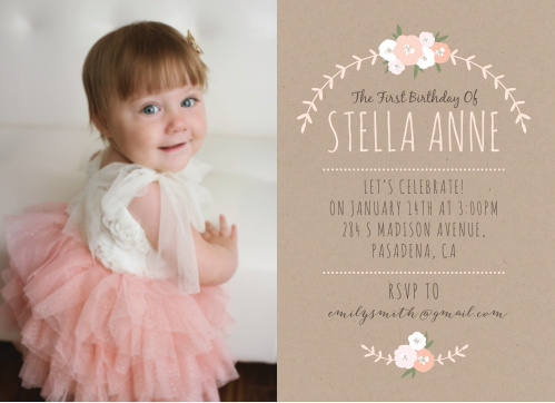 Floral Kraft First Birthday Invitations