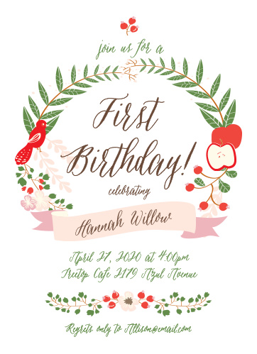 Whimsical Forest First Birthday Invitations