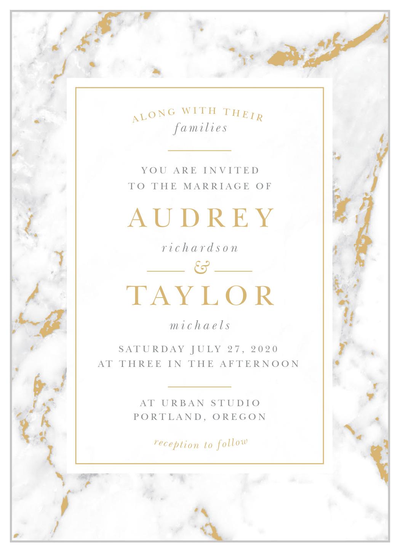 Foil Wedding Invitations.Cool Marble Foil Wedding Invitations