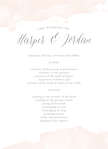 Dip Dye Wedding Programs