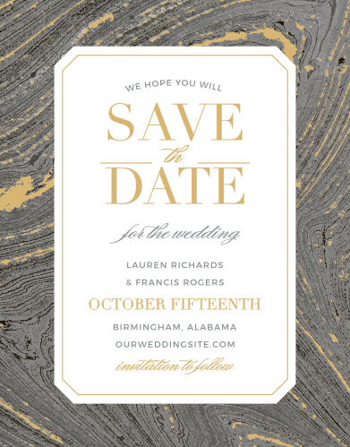 Marbled Paper Foil Save-the-Date Magnets