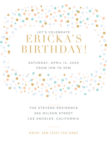 Dancing Dots Foil First Birthday Invitations