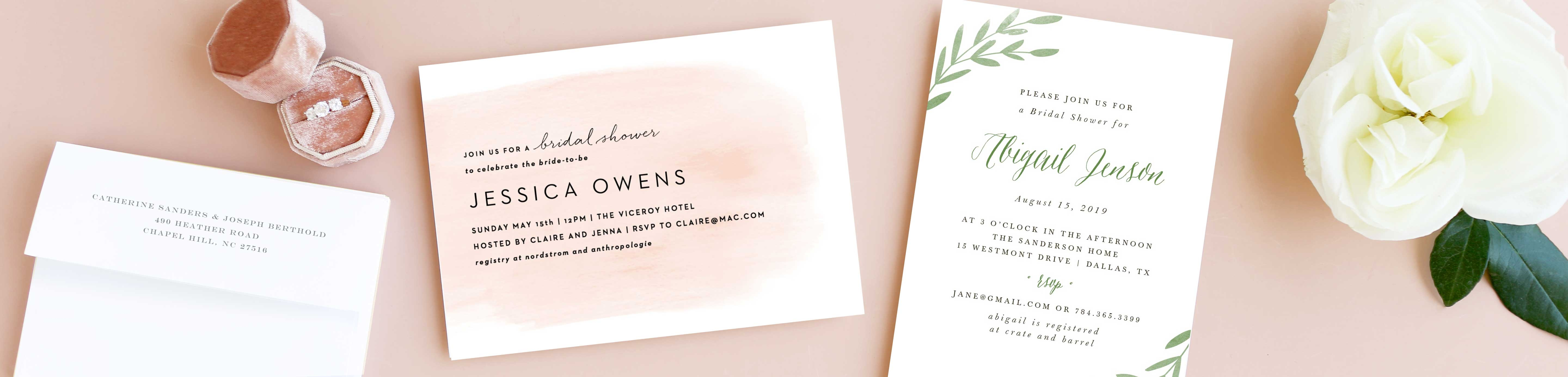 Stepped Ombre Bridal Shower Invitations