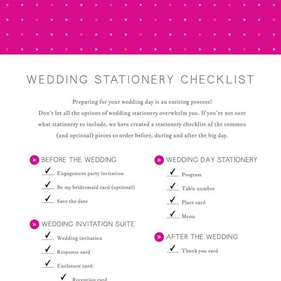 wedding stationery checklist printable by basic invite