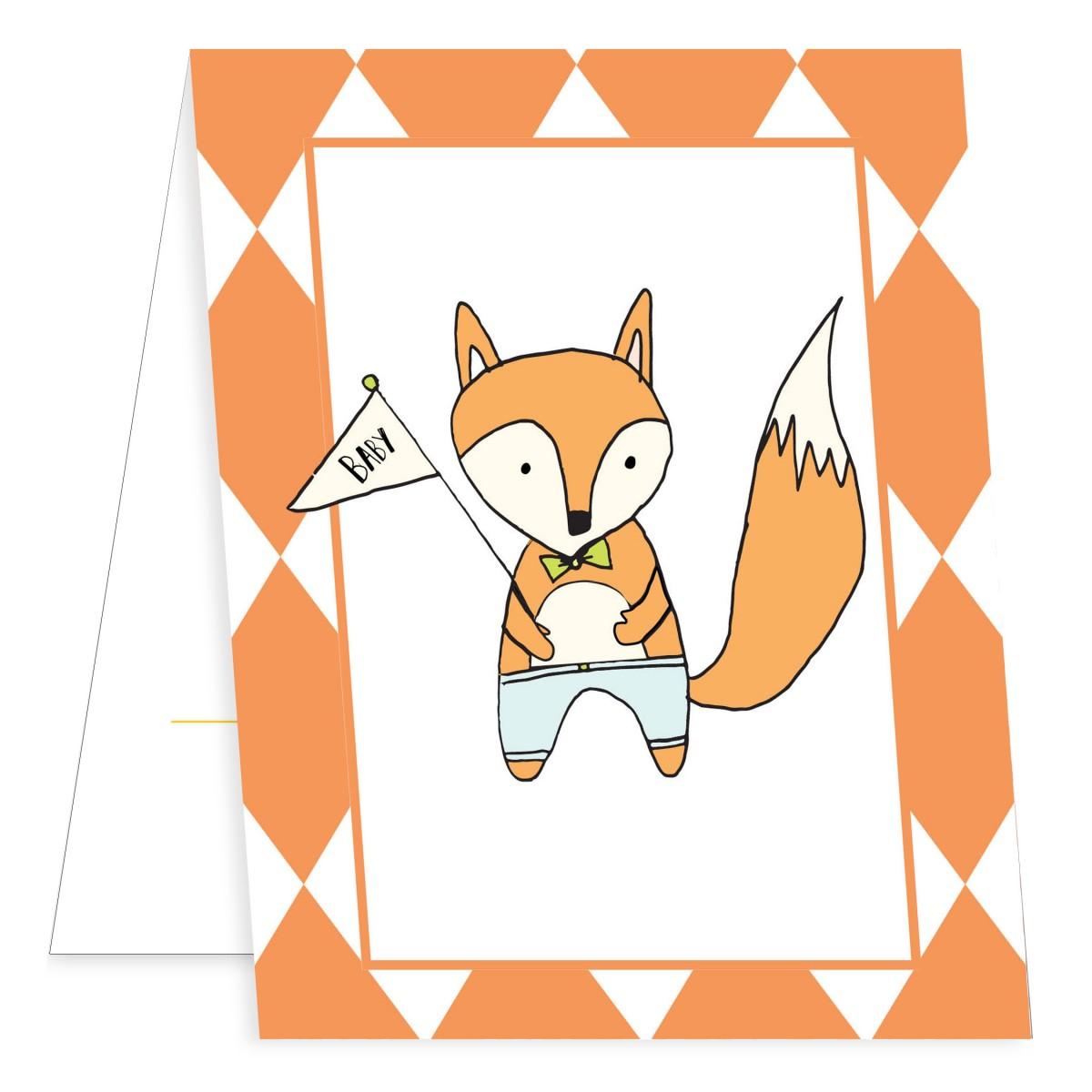 Friendly Fox Mini Fold Birth Announcements