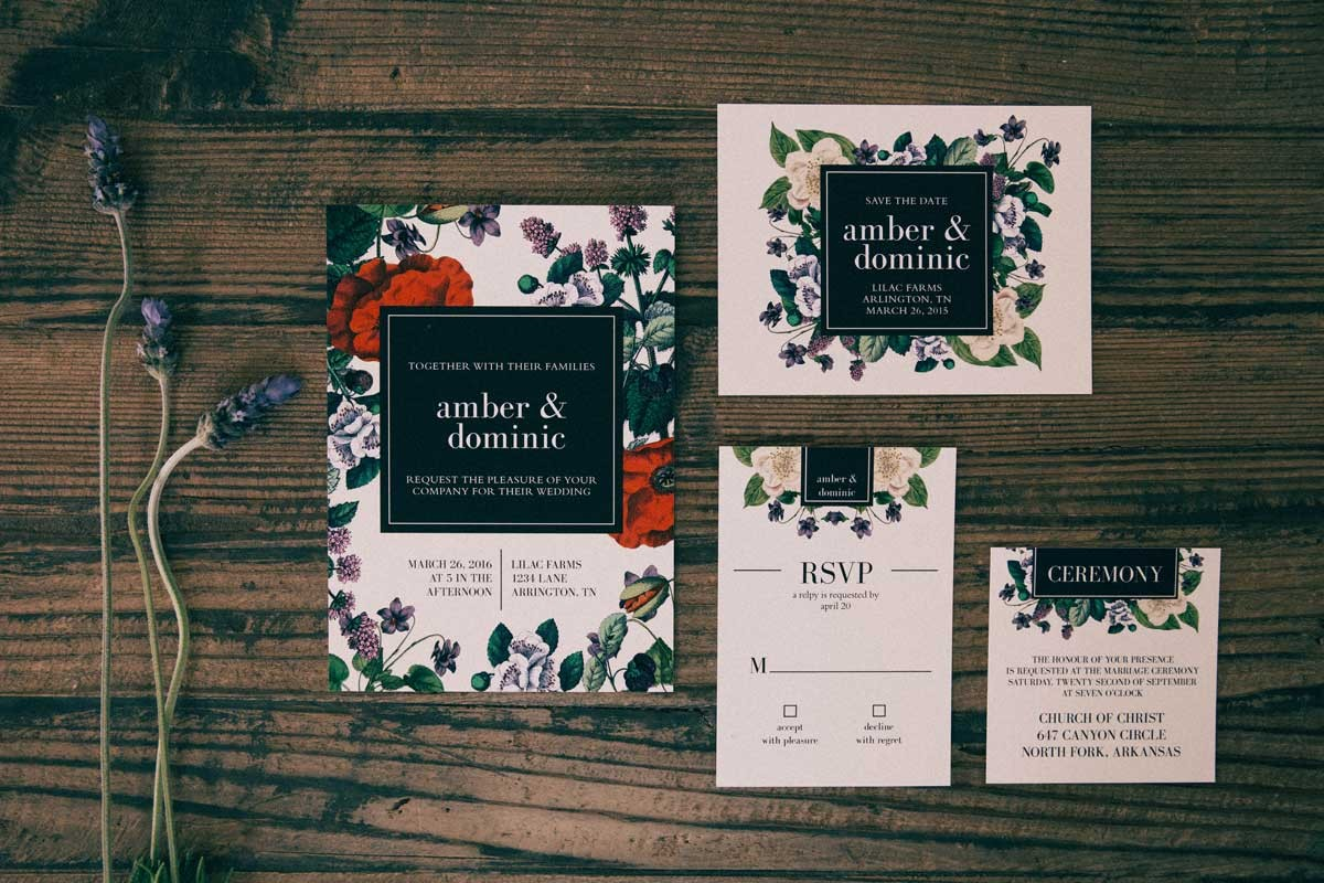 The Vintage Botanical Wedding Invitation