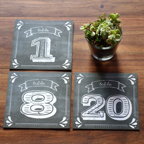 Rustic Chalkboard Table Numbers  Printable