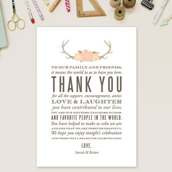 Blooming Antlers Thank You Message Card