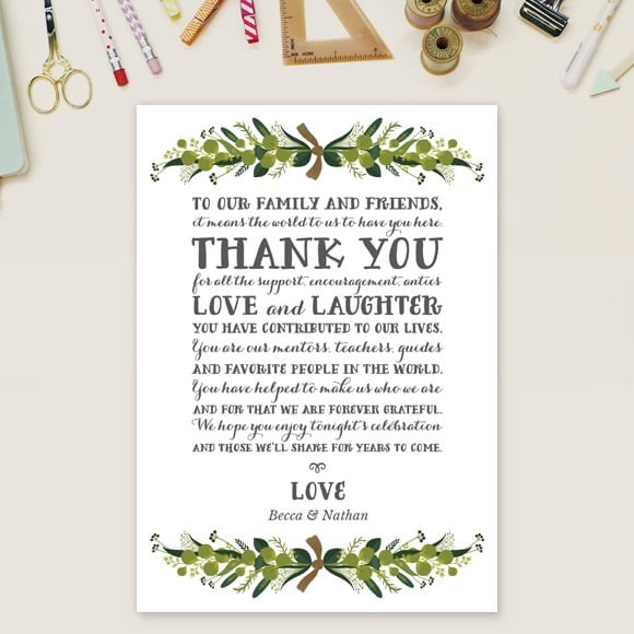 Romantic Wreath Thank You Message Card