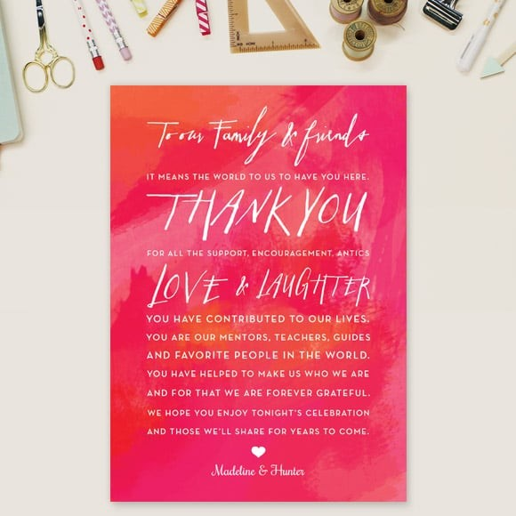 Watercolor LVD Thank You Message Card
