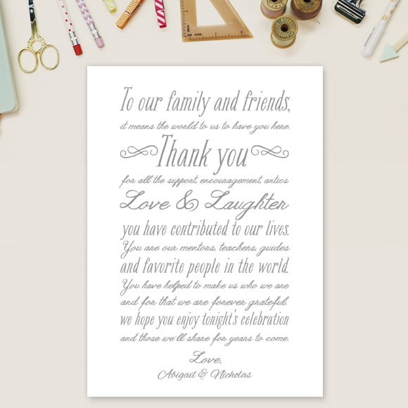 Rustic Elegance Thank You Message Card