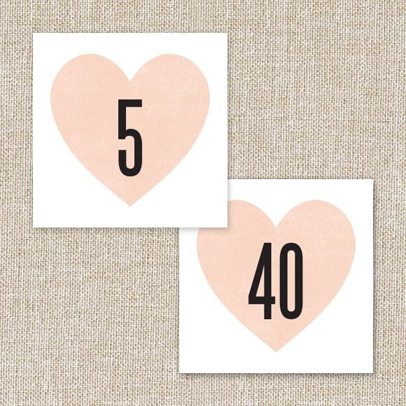 Heart in Hand Table Numbers