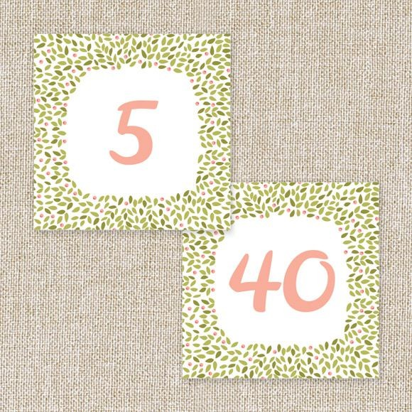 Blushing Wreath Table Numbers