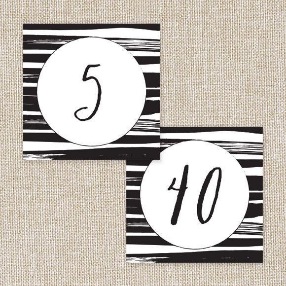 Black Stripes Table Numbers