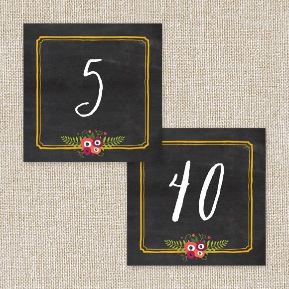 Chalkboard Blossom Table Numbers